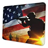 Gearsly American Flag Soldier Salute Silhouettes Patriotic Gaming Mouse Pad Mat Mousepad Thick Non-Slip Rubber Rectangle Computers Laptop Mouse Pads for Home Office 10 X 12 Inch
