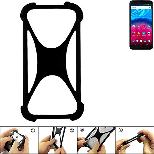 K-S-Trade® Handyhülle Für Archos Core 57S Schutz Hülle Silikon Bumper Cover Case Silikoncase TPU Softcase Schutzhülle Smartphone Stoßschutz, Schwarz (1x),
