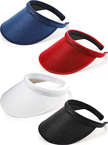 4 Pieces Clip on Visor Sun Visor Hat Wide Brim Clip on Head Cap Visors for Women product image