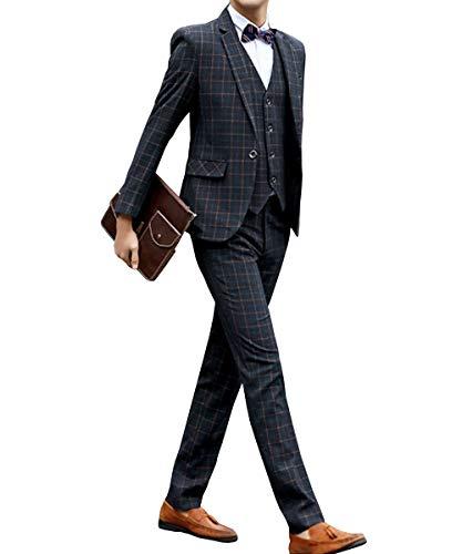 [chorbmark] (XL, ダークグレー(柄))セットアップ スーツ スリーピース スリムタイプ スーツケース スーツカバー ベルト ドレスシューズ ブラシ スーツハンガー 持ち運び 面接 アパレル 肩パット ずぼん パンツ カフス スキニー