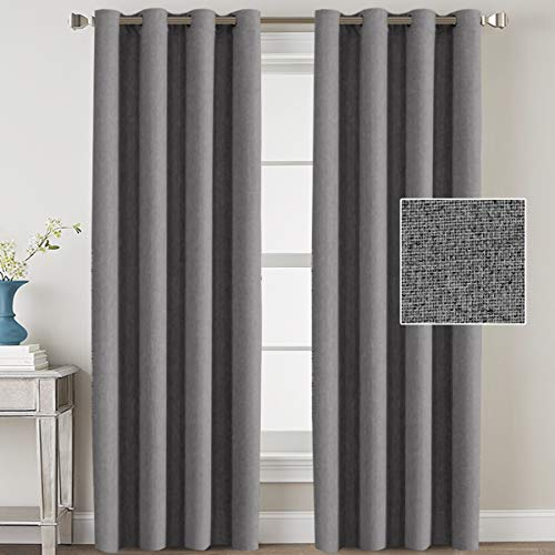 Linen Blackout Curtains 108 Inches Long for Bedroom / Living Room Thermal Insulated Grommet Curtain Drapes Primitive Textured Linen Burlab Effect Window Draperies 2 Panels - Grey
