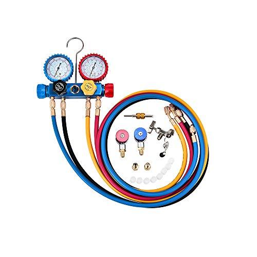 Set di indicatori del collettore CA a 4 vie R134A R410A R22 Pompa a vuoto per il carico diagnostico Freon Evacuation 5FT Hose 3 Kit adattatori del serbatoio ACME Accoppiamenti regolabili Can Tap