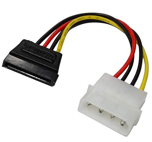 AERZETIX: Juego de 2 adaptadores Cable 15cm MOLEX Macho a SATA Recto Hembra de 4 Pines. Permite alimentación de conectar Disco Duro Lector CD DVD SATA a Sistema molex C43411