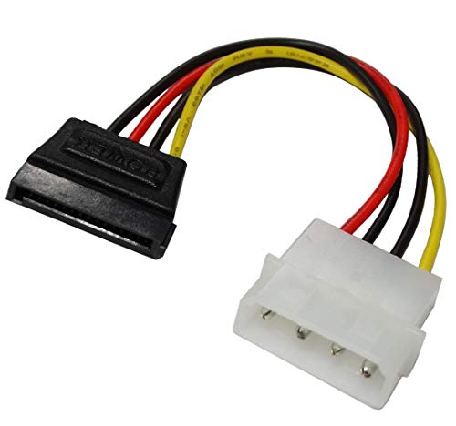 Aerzetix adapterkabel, 15 cm, Molex stekker naar SATA, rechts, 4-polig, 2 stuks voor het aansluiten van HDD, CD-/DVD-speler, SATA, op Molex C43411