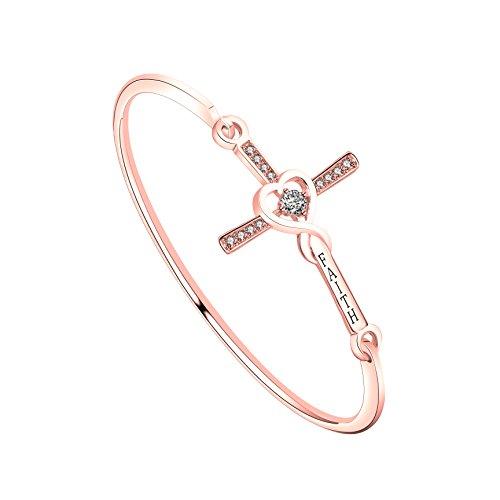WUSUANED Infinity Love Heart God Cross With 'Faith' Inscription Christian Bracelet Religious Gift for Women Girls (faith cross bracelet RG)
