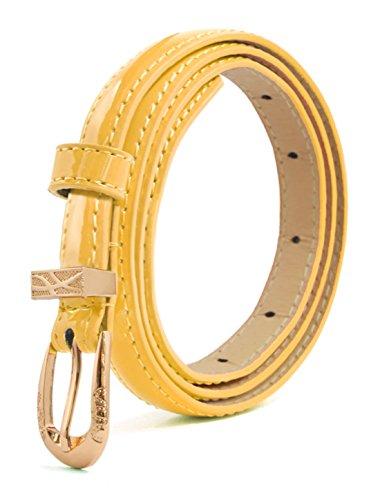 sourcingmap® Dame Einzeln Pin Schnallle schlank Patent PU Taille Gürtel gelb einstelllbar
