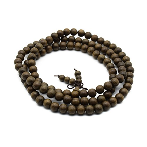 Zen Dear Unisex Burried Ebony Prayer Beads Buddha Buddhist Prayer Beads Meditation Mala Necklace Bracelet (8mm 108 beads)