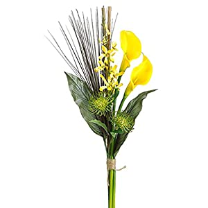 31″ Dendrobium Orchid, Calla Lily & Protea Silk Flower Bouquet -Yellow/Green (Pack of 6)
