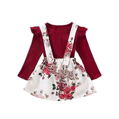 6m-4ans Bébé Fille Jupe à Lanière+Chandail, Ewendy Enfant Deux Pièces Coton Jupe en Tutu+Hauts Tricotés des Gamins Rose Imprimé Robe+Pullover Costume Girls Strap Skirt Ensemble