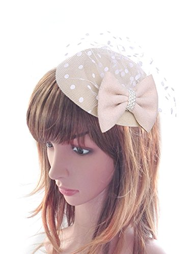 Women's Fascinators Hat Pillbox Hat Cocktail Party Hat with Dot Veil Bowknot Hair Clip