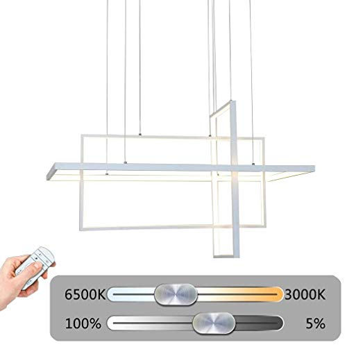 LED 3-Ring rechthoekig zwart wit hanglamp 80W keuken Dimbaar woonkamer eetkamer hanglamp kantoor eettafel bar kroonluchter modern design metalen acryl lamp met afstandsbediening L60cm (zwart)