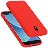 Cadorabo Funda para Samsung Galaxy J7 2017 / J730 / J7 Pro en Liquid Rojo - Cubierta Proteccíon de Silicona TPU Delgada e Flexible con Antichoque - Gel Case Cover Carcasa Ligera