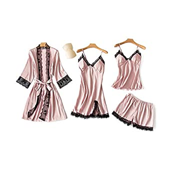 SAPJON Women s 4pcs Silk Satin Pajama Set Cami Top Nightgown Lace Sleepwear Robe Sets Sexy Nightdress with Chest Pads
