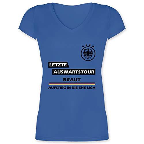 JGA Junggesellenabschied Frauen - Letzte Auswärtstour Braut - M - Blau - jungesellinnenabschied Frau - XO1525 - Damen T-Shirt mit V-Ausschnitt
