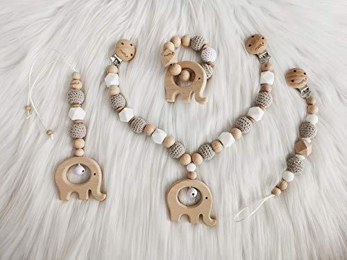 mallilu Set aus Kinderwagenkette, Babyschalen-Anhänger, Schnullerkette, Greifling (Ella beige)