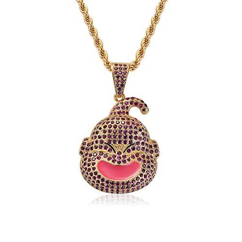 Selia Zircon Necklace Hip Hop Full Zircon Dragon Ball Character Pendant Hiphop Men Lady Tide Brand Fashion Ornament,Gold