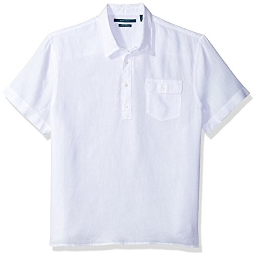 Perry Ellis Men's Short Sleeve Solid Linen Popover Shirt, Bright White-4CHW7082, Small
