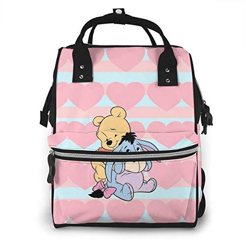 Sac à Langer Sac à Dos - Rose Amour Winnie l'ourson Multifonction étanche Voyage Sac à Dos maternité bébé Nappe Sacs à Langer