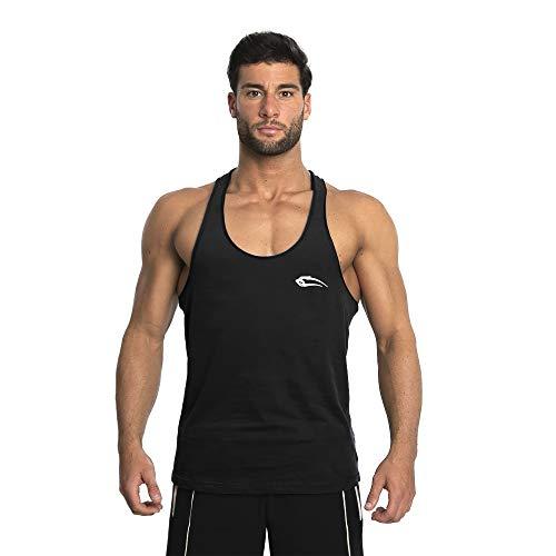 Herren Stringer Dean | Muskelshirt mit Aufdruck für Sport Gym Fitness & Bodybuilding | Muscle Shirt | Tank Top | Unterhemd | Achselshirt | Trainingshirt Kurzarm, Farbe:Schwarz, Größe:M