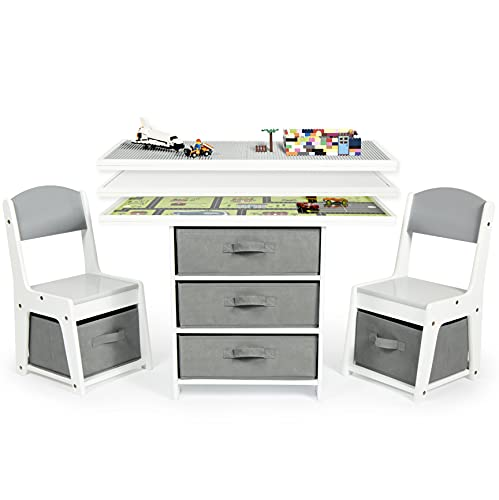 Milliard Kids 3in1 Play Table and Chair Set Wood with Storage Baskets Compatible with Lego and Duplo Bricks Activity Table Playset Furniture with Modern Gray Colors