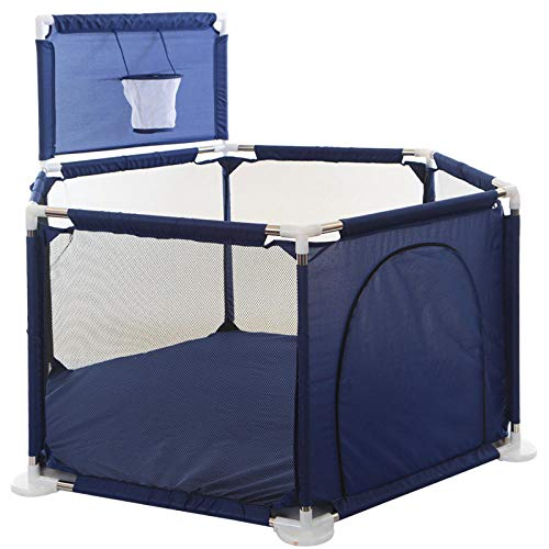 16 sq ft Blue Pop Up Play Pen with Breathable Mesh,6 Panel Indoor Play Tent for Acitivity Centre, Household Lightweight Mesh Kids Play Center Fence