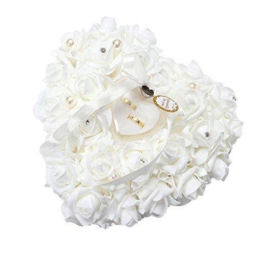 Yosoo 15x13cm Rose blanca romántica de la boda del anillo de la caja del corazón de Rose favores de la caja de la almohadilla del anillo de bodas con elegantes joyas de raso Accesorios flora