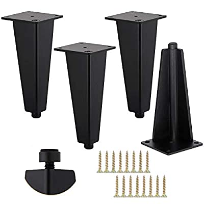 4-Inch Sofa Legs, Furniture Legs, TV Cabinet Legs, Solid Aluminum are The Perfect Substitute for Bedside Tables, Coffee Tables and Desk Legs.4 Pack/Black