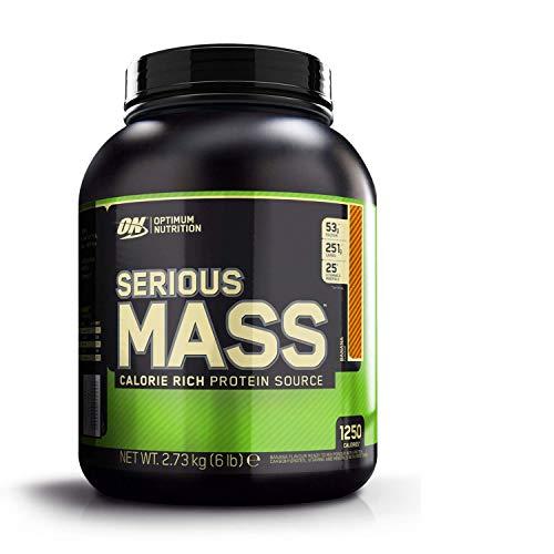 Optimum Nutrition ON Serious Mass proteina en polvo mass gainer alto en proteína, con vitaminas, creatina y glutamina, plátano, 8 porciones, 2.73 kg