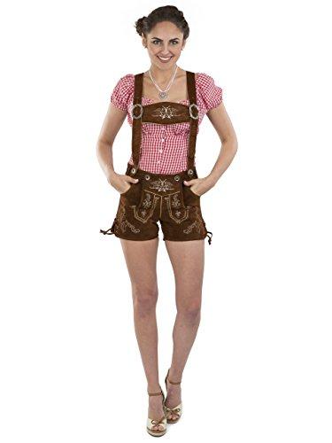 Damen Lederhose Almglück kurz - Hotpants Trachtenlederhose braun Schöneberger Trachten (38, mittelbraun)
