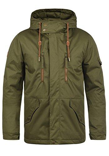 Indicode Elmhurst Herren Übergangsjacke Herrenjacke Jacke mit Kapuze aus 100% Baumwolle, Größe:S, Farbe:Dark Olive (644)