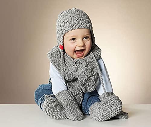 MyOma Strickset Baby - Wollpaket Baby Wollmaus - Baby Stricken Anleitung – Schal, Schühchen, Mütze – Baby Strickset – Strick-Set – 6X Merino Mix Big grau (Fb 3021), 3 Anleitungen und GRATIS Label