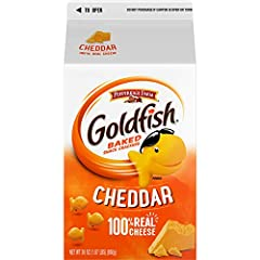 BAKED WITH REAL CHEESE: Always made with 100% real cheddar cheese and no artificial flavors or preservatives ALWAYS BAKED, NEVER FRIED: Keep Goldfish crackers on hand for anytime snacking goodness KIDS SNACK: Portion out snacks for lunchboxes and on-...