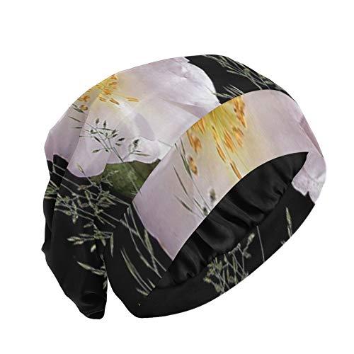Cap Sueño Flor Planta Naturaleza Hoja Pétalo Jardín Floral Cabello Gorro para Dormir Exterior-Suave Duradero Gorro para Dormir para rizos para Rizado Cabello Largo Natural Disponib