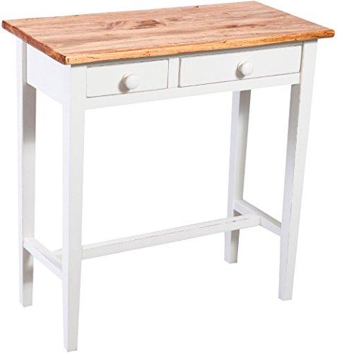 Biscottini Table Basse Console de Salon Style Rustique en Tilleul Massif avec Finition Antique Blanche L73xPR36xH75 cm