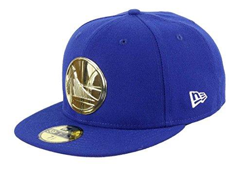 New Era - Golden State Warriors - Gorra 59fifty - Insignia de metal dorado - Azul azul y amarillo 60