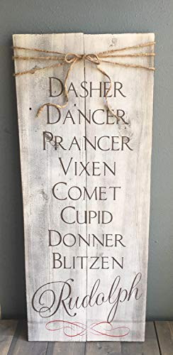 Zhaoshoping Dasher Dancer Prancer Vixen Comet Cupid Donner Blitzen Rudolph Rustic With Twine Bow Reindeer Name Rustic Christmas Decor Wood Signs for Home Decor Quote Garden Plaque Sign