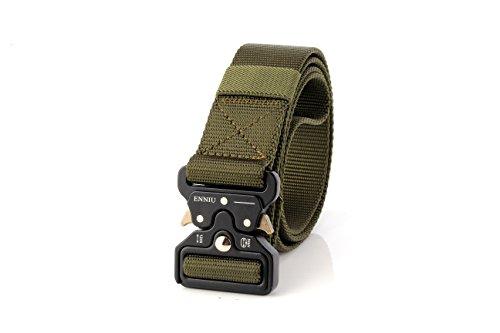Motusamare Tactical Belt Heavy Duty Military Style Webbing Riggers Web Belt with 1.5' Metal Buckle (Ranger Green)