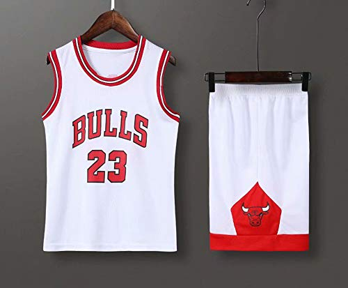 LYY Jersey Men's, NBA Chicago Bulls # 23 Michael Jordan - Niño Adulto Classic Baloncesto Sportswear Suelte Comfort Chalecos Tops Sin Mangas Camisetas Uniformes Set,Blanco,M(Child) 125~135CM