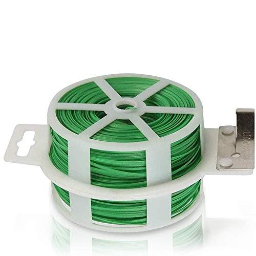 auvstar 100m Attaches de Jardin pour Plantes, Fil de Lien de greffe de Greffier d'organisateur d'usine en Plastique pour Le Jardinage, Liens de câble en métal Polyvalents (Vert)