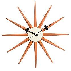 Emorden Furniture Nelson Sunburst Clock Orange, Atomic Wooden Wall Clock Mid Century Antique Retro Nelson Style
