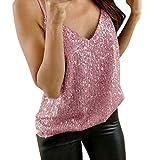 XOXSION Canottiera da donna, estiva con brillantini, sexy, alla moda, per cami Swing, da discoteca, comoda camicia, morbida camicia a tunica, Colore: rosa., XXXXL