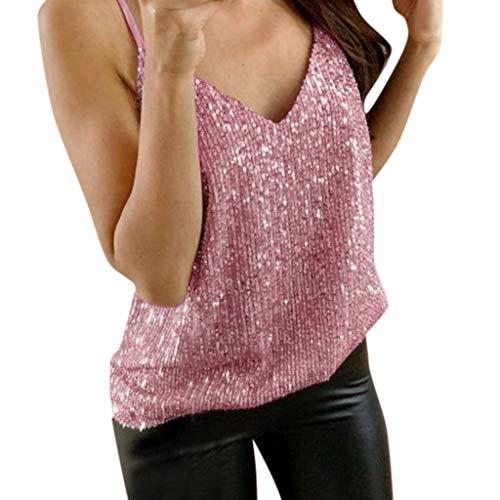 iHENGH Womens Glitter Strappy Tank Tops Ladies Sexy Sparkle Cami Swing Vest Clubwear(Rosa, L)