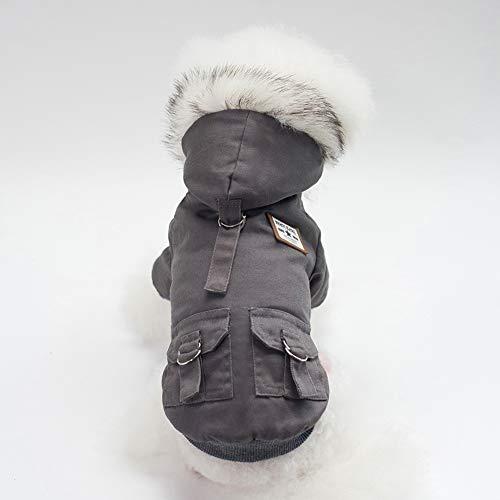 N/A Home For Pet Sweatshirt Hund Warme Kleidung Kapuzenmantel Kostüm mit Knopf für Teddy, Zwergspitz, Welpe, Dunkelgrau S