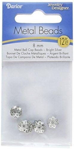 Jewelry Designer Slimpack Silver Metal Findings-8mm Bell Cap 12/Pkg