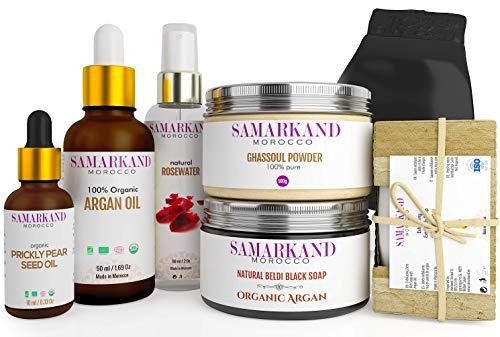 Hammam-Set aus Marokko zum Peeling & Hautfeuchtigkeit mit schwarzer Seife, Bio-Arganöl, Bio-Kaktusfeigenöl, Bio-Ghassoul Tonerde, Rosenwasser, Seife mit Arganöl & einem Kessel-Kessa-Massage-Handschuh