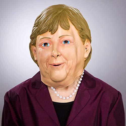 NET TOYS Authentische Angela Merkel Maske für Erwachsene - Brünett-Hautfarben - Originelle Unisex-Maskerade Faschingsmaske Bundeskanzlerin - Bestens geeignet für Fasching & Karneval