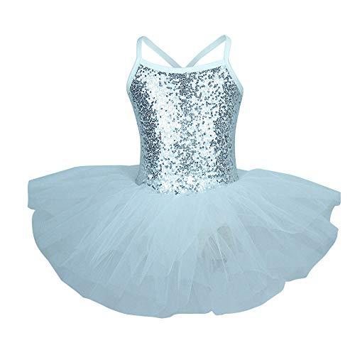 CHANGL Traje de Bailarina Dorada Lentejuelas Vestido de Ballet Ropa de Baile para niñas Leotardo de Ballet de tutú para niños y niños pequeños