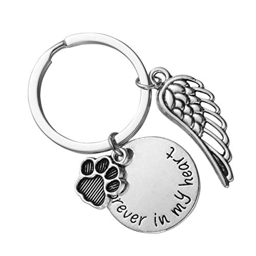 Amosfun Pet Memorial Keychain Forever in My Heart Keyring Valentine Day Key Holder Best Friendship Key Ring Pet Footprint Key Pendant for Couples Keychains Favor Souvenir