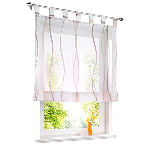 ESLIR Raffrollo mit Schlaufen Gardinen Küche Raffgardinen Transparent Schlaufenrollo Vorhänge Mit Wellen-Druck Modern Voile Sand BxH 120x140cm 1 Stück