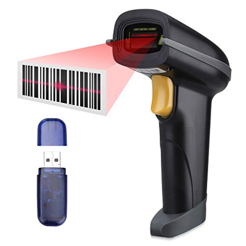 Slypnos Escáner de Codigo de Barras, Escáner láser Bluetooth + 2.4G Receptor...